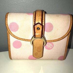 Dooney&Bourke tan leather trim pink canvas wallet
